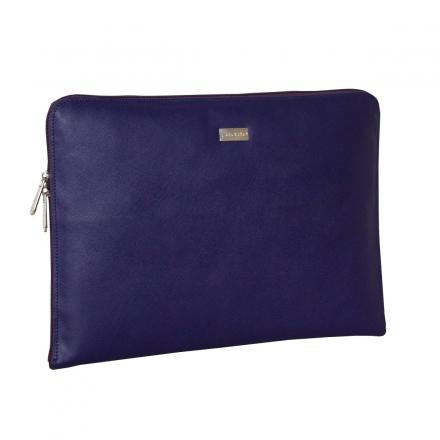 Portafolio de piel color lila lateral