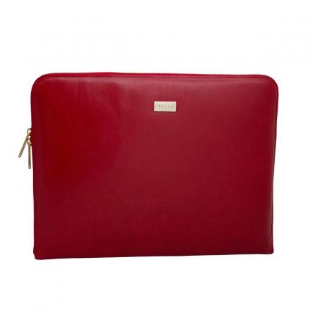 portafolio de piel rojo lateral