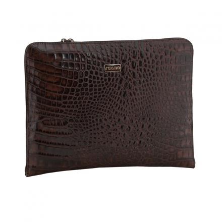 portafolio de piel en coco marrón lateral