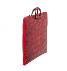 Portafolio de piel coco rojo con asa