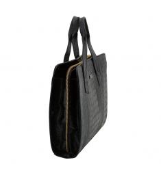 Bolso portadocumentos piel mujer coco negro